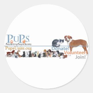 PUPs Logo Merchandise Classic Round Sticker