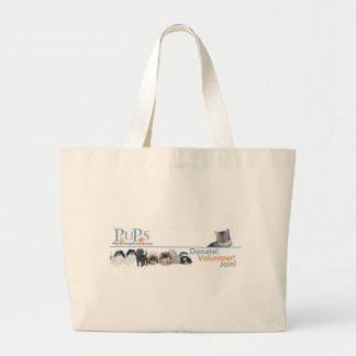 PUPs Logo Merchandise with Tabby Cat Canvas Bags