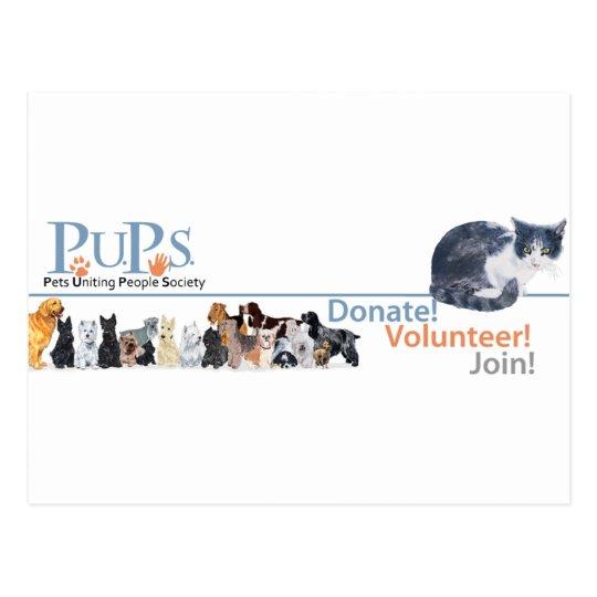 PUPs Logo Merchandise with Tuxedo Cat Postcard