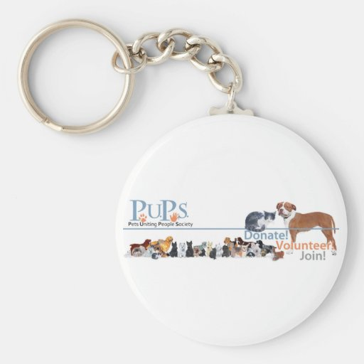 PUPs Logo with Dogs and Cats Basic Round Button Keychain