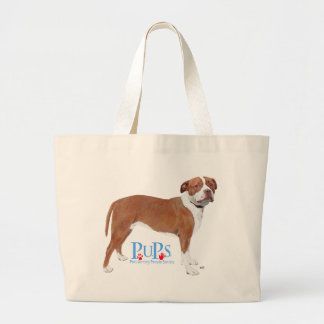 PUPs Rescued Pit Bull Large Tote Bag
