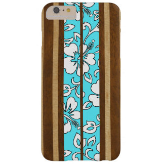 Pupukea Hibiscus Hawaiian Faux Wood Surfboard Barely There iPhone 6 Plus Case