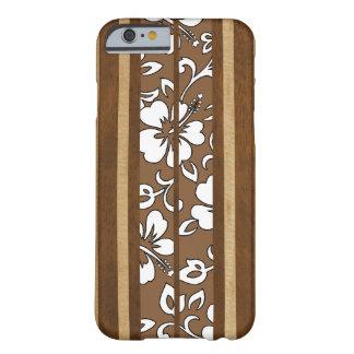 Pupukea Hibiscus Hawaiian Faux Wood Surfboard iPhone 6 Case