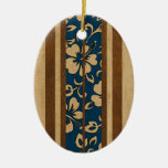 Pupukea Vintage Hawaiian Faux Wood Surfboard Double-Sided Oval Ceramic Christmas Ornament