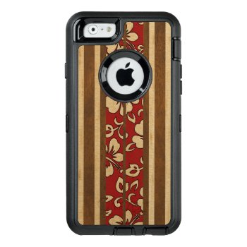Pupukea Vintage Hawaiian Faux Wood Surfboard Otterbox Defender Iphone Case by DriveIndustries at Zazzle