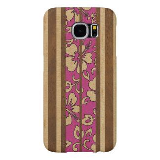 Pupukea Vintage Hawaiian Faux Wood Surfboard Samsung Galaxy S6 Cases