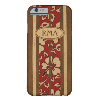 Pupukea Vintage Hawaiian Monogram Faux Wood Surf Barely There iPhone 6 Case