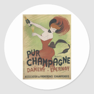 PUR CHAMPAGNE Vintage Art Poster print Classic Round Sticker