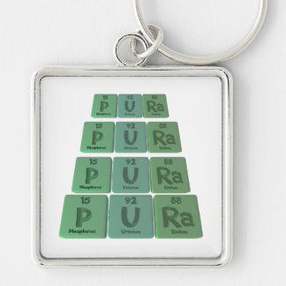 Pura as Phosphorus Uranium Radium Silver-Colored Square Keychain