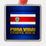 ¡Pura Vida! Costa Rica Adorno Cuadrado Plateado