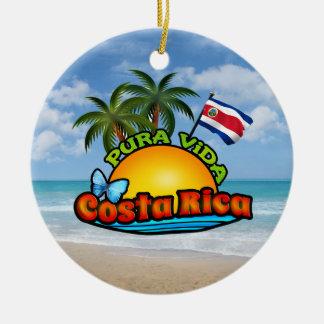 Pura Vida Costa Rica Adorno Navideño Redondo De Cerámica