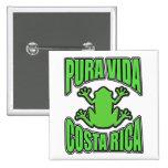 Pura Vida Costa Rica Green Frog Pinback Button