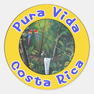 Pura Vida, Costa Rica Pegatina Redonda