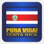 ¡Pura Vida! Costa Rica Pegatina Cuadradas
