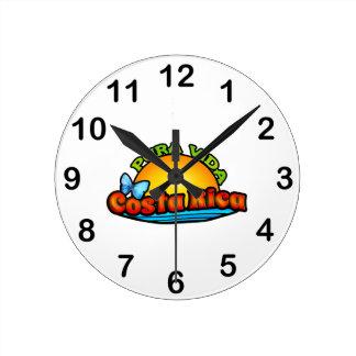 Pura Vida Costa Rica Reloj Redondo Mediano