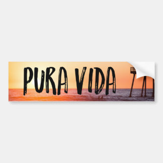 Pura Vida Sunset Beach Tropical Bumper Sticker