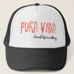 """Pura Vida Women&#39;s Orange Sunset Trucker Hat<br><div class=""""desc"""">Do you love the beach?  Choose this pura vida,  Costa Rica trucker hat to keep you cool while at the beach.  Designed with a fiery orange sunset in mind.</div>"""