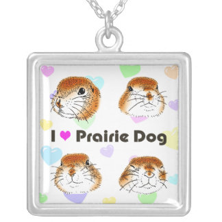 purairie dog silver plated necklace