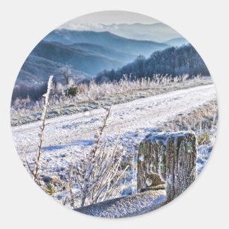 Purchase Knob Winter Scenic View Classic Round Sticker