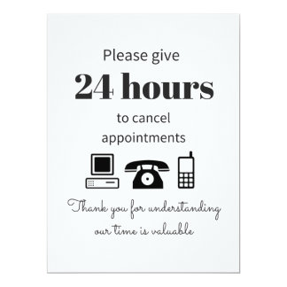 Purchase this 24 hour cancellation policy card