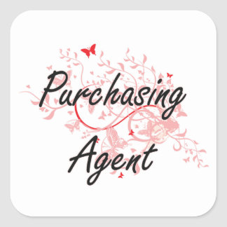Purchasing Agent Artistic Job Design with Butterfl Square Sticker