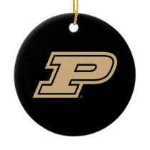 Purdue University | Gold Motion P Mark Ceramic Ornament