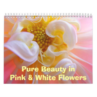 Pure Beauty Pink White Flowers Calendar Floral