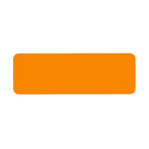 Pure Bright Orange Customized Template Blank Return Address Label