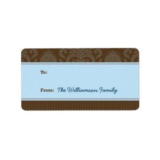 Pure Elegance Holiday Gift Tag (brown/blue) Custom Address Label