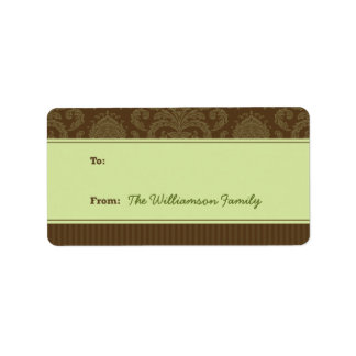 Pure Elegance Holiday Gift Tag (brown/green) Personalized Address Label