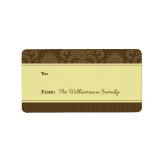 Pure Elegance Holiday Gift Tag (brown/ivory) Personalized Address Labels