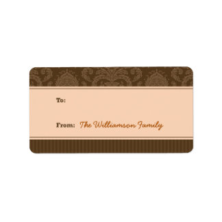 Pure Elegance Holiday Gift Tag (brown/peach) Personalized Address Label
