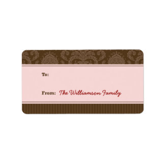 Pure Elegance Holiday Gift Tag (brown/pink) Custom Address Labels