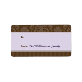 Pure Elegance Holiday Gift Tag (brown/purple) Custom Address Label