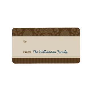Pure Elegance Holiday Gift Tag (brown/taupe) Custom Address Label