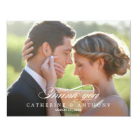 Pure Elegance Wedding Photo Thank You Card