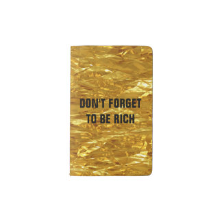 PURE GOLD FOIL Pattern + your text / photo Pocket Moleskine Notebook
