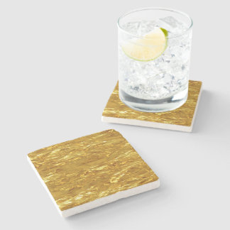 PURE GOLD Foil Pattern + your text / photo Stone Coaster
