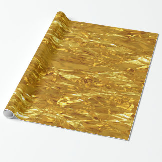 PURE GOLD FOIL Pattern + your text / photo Wrapping Paper
