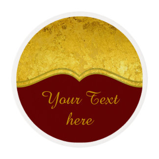 PURE GOLD LEAF Border + your text / photo Edible Frosting Rounds