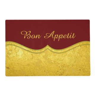 PURE GOLD LEAF Border + your text / photo Laminated Place Mat