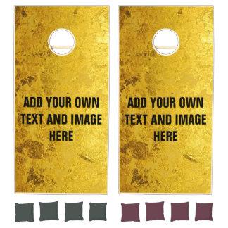 PURE GOLD LEAF Pattern + your text / photo Cornhole Set