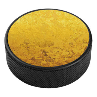 PURE GOLD LEAF Pattern + your text / photo Hockey Puck