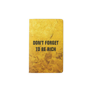 PURE GOLD LEAF Pattern + your text / photo Pocket Moleskine Notebook