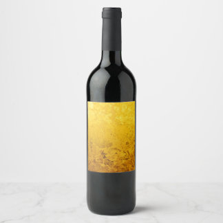 PURE GOLD LEAF Pattern + your text / photo Wine Label