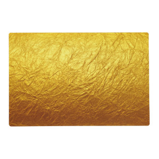 PURE GOLD PAPER Pattern + your text / photo Laminated Place Mat
