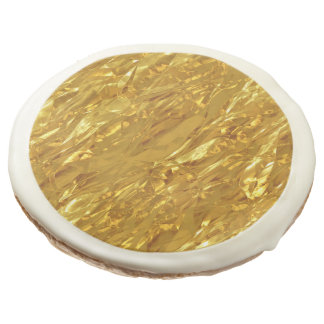 PURE GOLD pattern / foil + your photo & text Sugar Cookie
