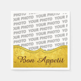 PURE GOLD pattern / gold leaf + your photo & text Standard Cocktail Napkin