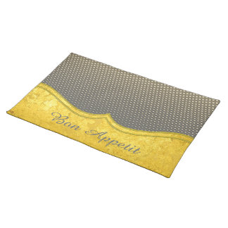 PURE GOLD pattern / gold leaf + your photo & text Placemat