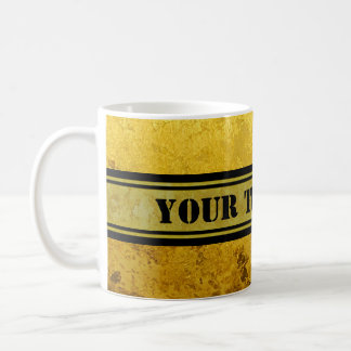 PURE GOLD pattern / gold leaf + your text Coffee Mug